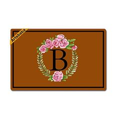 Artsbaba Personalized Your Text Doormat Pink Wreath Letter B Monogram Doormats Monogram Non-Slip Doormat Non-woven Fabric Floor Mat Indoor Entrance Rug Decor Mat x ** You can get additional details at the image link. (This is an affiliate link)