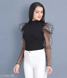 Checkout this latest Tops & Tunics Product Name: *Women's Gorgette Puff Sleeves Tops* Fabric: Georgette Sleeve Length: Long Sleeves Pattern: Solid Multipack: 1 Sizes: S (Bust Size: 32 in, Length Size: 20 in)  M, L Country of Origin: India Easy Returns Available In Case Of Any Issue   Catalog Rating: ★4.1 (295)  Catalog Name: Women's Gorgette Puff Sleeves Tops CatalogID_2209710 C79-SC1020 Code: 472-11692780-117
