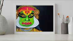 Small Canvas Art, Easy Canvas Painting, Dance Paintings, Easy Paintings, Kathakali Face, Buddha Art, Step By Step Painting, Traditional Paintings, Easy Drawings