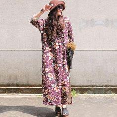 Women Loose Fitting Linen Print Dress