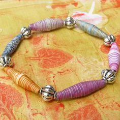 Striped Paper Beads Bracelet