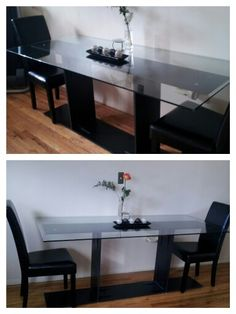 Sleek Glass Dining table.