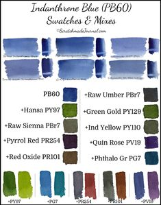 Indanthrone Blue PB60 Swatch & Mixing Chart - ScratchmadeJournal.com