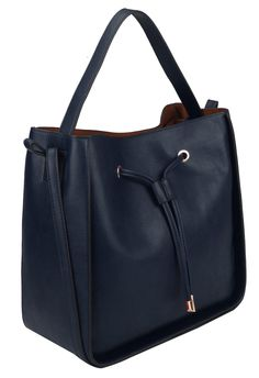 Drawstring Double Handles Hobo, Navy Blue