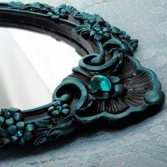 Jewelled Mirror Aqua & Black