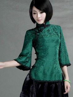 Green Silk Crop Sleeve Qipao Top / Chinese Blouse