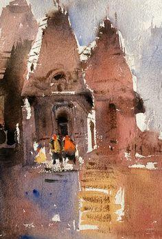 Varanasi ghats from Indian watercolor artist - Nitin Singh Watercolor Mixing, Watercolor Artwork, Watercolor Landscape, Original Art For Sale, Varanasi, Watercolours, Online Art Gallery, Buildings, Original Paintings