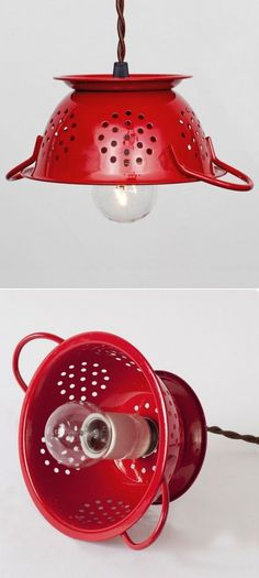 *  use my old red colander as a pendant light over the kitchen sink