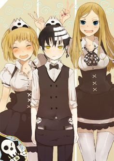 Death the kid with the thompson sisters. soul eater