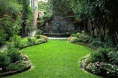 A small courtyard garden in Charleston, South Carolina. The narrow, deep lots present challenges and opportunities.: #LandscapingPlans