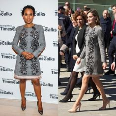 Queen Letizia and Kerry Washington  The Spanish royal paired her Carolina Herrera Prince of Wales cut-out dress with nude heels while attending the last day of the 'Woman and disability- We cross borders' International Congress in Avila, Spain in March 2017.   The Scandal star opted for black pumps for her Times Talks appearance almost a year earlier in April 2016.