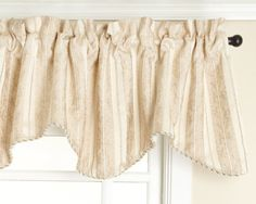 Renaissance Home Fashion Cooper Lined Scalloped Valance with Cording, Champagne, 50 by 17-Inch