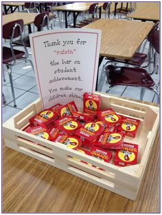 Teacher Appreciation - Could be adapted for parent/teacher conferences. Thank you for raisin the bar of student leadership Employee Appreciation Gifts, Volunteer Appreciation, Teacher Appreciation Week, Teacher Appreciation Breakfast, Teachers Week, Parents As Teachers, Teacher Treats, Teacher Gifts, Teacher Stuff