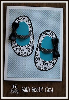 Handmade Baby Bootie Card - Adorable!