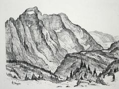 View this item and discover similar for sale at - Cascade Mountain Landscape: Glacier National Park, Montana. Cascade National Park, Glacier National Park Montana, North Cascades National Park, National Parks, Mountain Sketch, Mountain Drawing, Landscape Sketch, Landscape Prints, Weather Rain