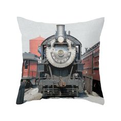 This charming front view of a stopped locomotive might help remind you to slow down once in a while. Smell the flowers along your route, and enjoy the little things. Stop the runaway train with the old...  Find the Runaway Train Pillow, as seen in the The Foundry Collection at http://dotandbo.com/collections/the-foundry?utm_source=pinterest&utm_medium=organic&db_sku=105003