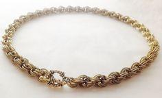 Chainmaille necklace jeweler's brass double twist by twistedlinksjewelry on Etsy https://www.etsy.com/listing/113663911/chainmaille-necklace-jewelers-brass