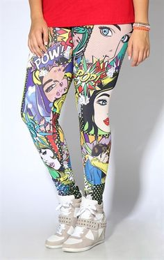 Plus Size Legging with Comic Book Faces Pop Art Print Boho Outfits, Cute Outfits, Fashion Outfits, Plus Size Dresses, Plus Size Outfits, Curvy Fashion, Fashion Beauty, Plus Size Tights, Plus Size Lingerie