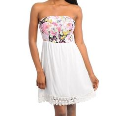 "Spotted while shopping on Poshmark: ""White & Floral Print Tube Dress""! #poshmark #fashion #shopping #style #Dresses & Skirts"