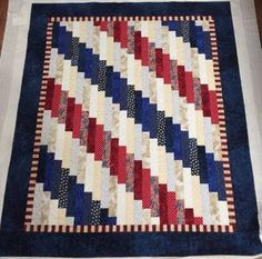 Strip quilt in Patriotic Colors- no link