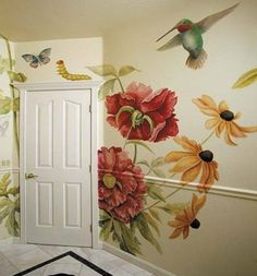 Flowers and birds mural painting Mural Painting, Tole Painting, Mural Art, Wall Murals, Wall Art, Wall Paintings, Funny Paintings, Wall Treatments, Painted Furniture
