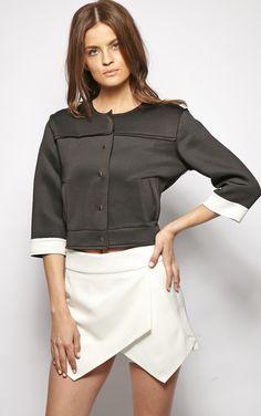 Jasmin Black Scuba Crop Jacket
