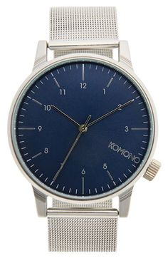Free shipping and returns on Komono 'Winston' Round Dial Strap Watch, 40mm at Nordstrom.com. Sleek minimalism defines a clean, stylish round dial watch secured with a mesh metal band.