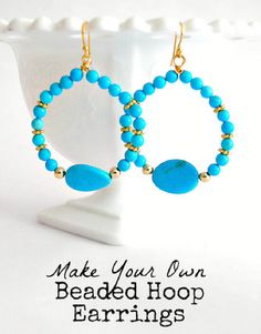 Beaded hoop earring tutorial at savedbylovecreations.com from Steph at The Silly Pearl