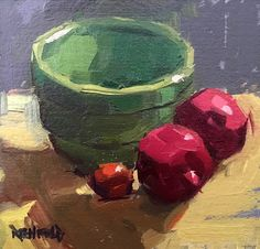 """cathleen+rehfeld+•+Daily+Painting:+#885+4""""x4""""+Poms+and+Green+Bowl+Study"""
