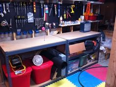 The Quaint Cottage: Organizing the Basement Workshop- for david Garage Workshop Organization, Basement Workshop, Organization Hacks, Organizing, Basement Inspiration, Basement Ideas, House Projects, Diy Projects To Try, Basements