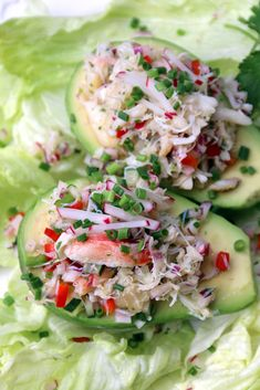 Avocados with crab salad.