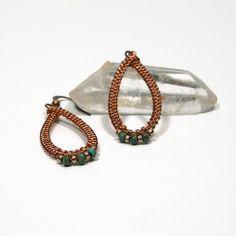 Woven Copper Teardrop Earrings Wire Wrapped by AussenWolfDesigns