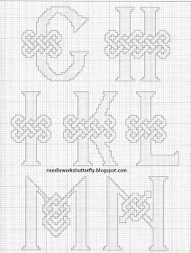 Celtic alphabet - 2 of 4 : Needle-Works Butterfly: CROSS STITCH PINCUSHION AND NEEDLE CASE