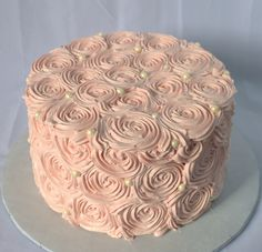 Pink Rosette Cake with Pearls