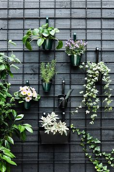 34 Nice Outdoor Hanging Plants Design Ideas - Every home becomes cozier with some hanging or potted indoor plants. For the garden or along the front walkway, outdoor artificial plants will do. Garden Wall Designs, Garden Design, Balcony Design, Plant Design, Hanging Plants Outdoor, Indoor Outdoor, Outdoor Wall Planters, Concrete Planters, Garden Wall Planter