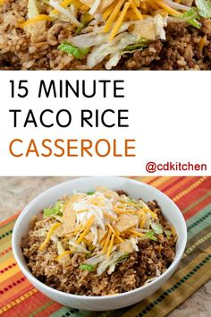 Ready in mere minutes and the ingredients can be adjusted to suit your tastes. Made with ground beef, rice, taco seasoning, plus toppings like cheddar cheese, tortilla chips, lettuce, tomatoes, or any taco like toppings you enjoy. | CDKitchen.com