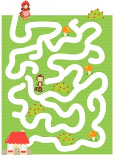 Logic Games For Kids, Red Riding Hood Party, Mazes For Kids, English Worksheets For Kids, Red Day, Preschool Themes, Little Red, Fairy Tales, Kids Rugs