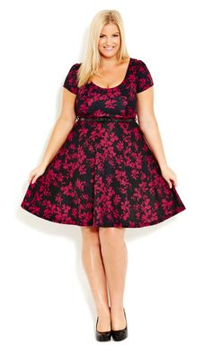 6a3cbfcf21f City Chic - FLORAL SWING DRESS - Women s Plus Size Fashion  99 Swing Dress