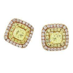 18KR .77ctw Fancy Yellow Dia .19ctw Pink Diamond Earrings.  LOve em!