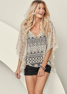 CROCHET LACE PONCHO, V-NECK SEAMLESS CAMI, CUT OFF JEAN SHORTS