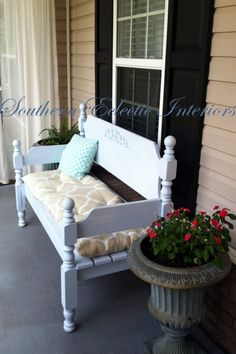 Shabby chic bench made from an old headboard and foot board.