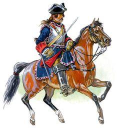 French; Heavy Cavalry, Regiment Cuirassier du Roi, c.1710- 54) MAISON DU ROI. B: MAISON MILITAIRE: .. en 1622, dissoute en 1646 et reformée en 1657. Appelés Mousquetaires gris, c'était la compagnie de d'Artagnan. *La Compagnie des Mousquetaires Noirs, constitués à l'origine par Richelieu pour être sa garde personnelle, avant d'être celle de Mazarin qui la céda au roi en 1660.