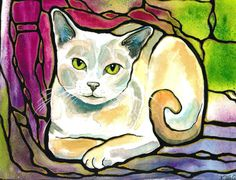 "Pretty Pale Kitty Cat Art 8""x10"" PRINT of original Lovely colorful Unique ""Stained Glass"" Style K.McCants. Reminds me of my old kitty :)"