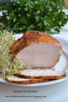kuchnia na obcasach: Pieczona pierś indyka Hummus, Roast Turkey Breast, Roasted Turkey, Food Photo, I Foods, Baked Potato, Camembert Cheese, Potatoes, Bread