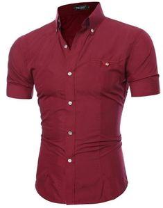 d965f4da363 Men Shirt Luxury Short Sleeve Hawaiian Shirts Casual Metal Buckle Hit Color  Slim Fit Black Shirts
