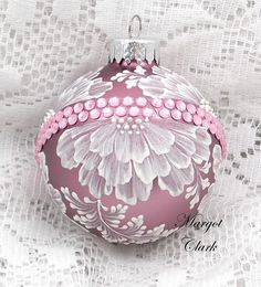 Soft Pink Textured Floral Design Ornament with Bling 480 by MargotTheMUDLady on Etsy