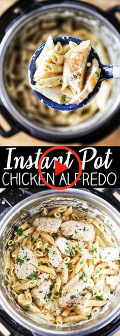 Instant Pot Chicken Alfredo Pasta Instant Pot Chicken Alfredo - Flavorful chicken breasts, garlic, penne, real cream and real parmesan cheese. The best part is it all cooks together in the Instant Pot. Pollo Alfredo, Alfredo Recipe, Alfredo Sauce, Homemade Chicken Alfredo, Alfredo Chicken, Chicken Pasta, Chicken Tacos, Cheesy Chicken, Appetizer Recipes