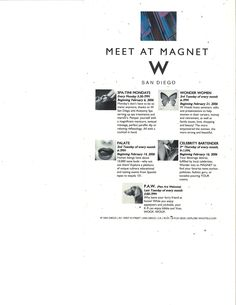 W Hotel San Diego - Meet at Magnet monthly event series: Spa-tini, Wonder Women, Palate, Celebrity Bartender, and P.A.W. Doggie Happy Hour