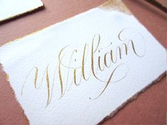 Delicate calligraphy compliments the bronze gold ink on a deckled edge, handmade paper place card. Our Wedding, Wedding Ideas, Paper Place, Addressing Envelopes, Gold Ink, Wedding Calligraphy, Etiquette, Compliments, Place Cards