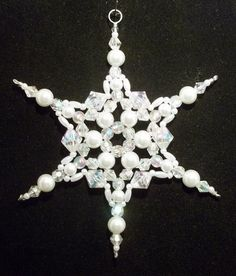 Snowflake Ornament White Pearl and Clear AB by SnowflakeStudio59